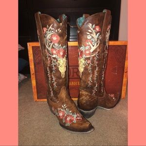 Corral Deer Skull Embroidery Boots - Snip Toe- 8.5